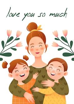 Feliz día de las madres con mamá sonriente abrazando a sus hijos