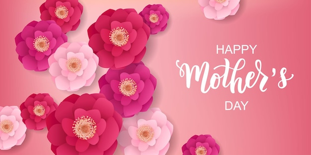 Feliz día de las madres texto de letras a mano con hermosas flores.