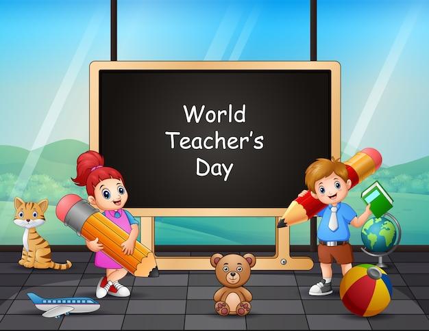 Feliz día del maestro en cartel con niños
