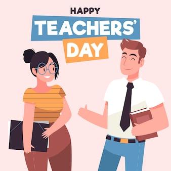 Feliz día del maestro dibujado a mano ilustración