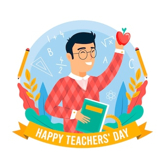 Feliz día del maestro con educador y libro.