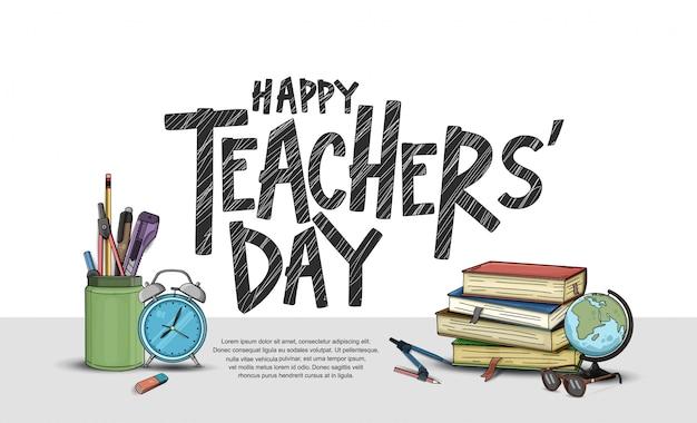 Feliz día del maestro, elementos escolares