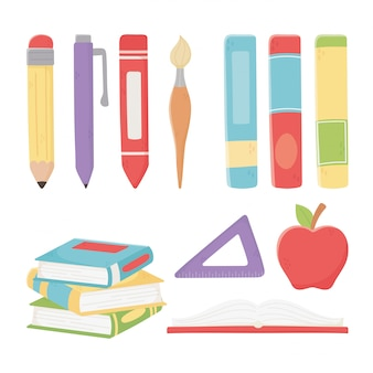 Feliz día del maestro, escuela manzana libros regla lápiz lápiz pincel crayón