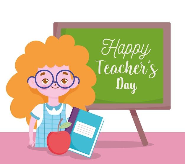 Feliz día del maestro, estudiante niña libro apple y blackborard