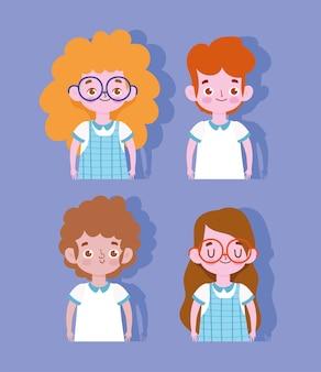 Feliz día del maestro, estudiantes niños y niñas con uniforme de dibujos animados.