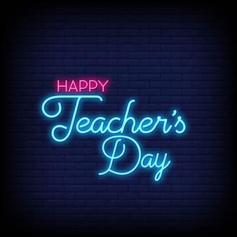 Feliz día del maestro en letreros de neón