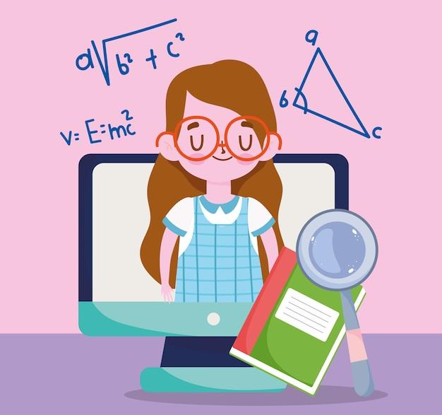 Feliz día del maestro, libro de computadora para niña estudiante y lupa
