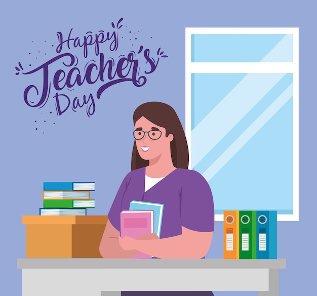 Feliz día del maestro, con maestra en escritorio y libros.