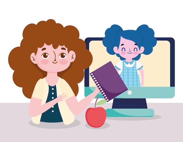 Feliz día del maestro, maestra y estudiante niña computadora en línea aprender