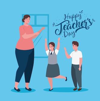 Feliz día del maestro, con maestra y estudiantes lindos.