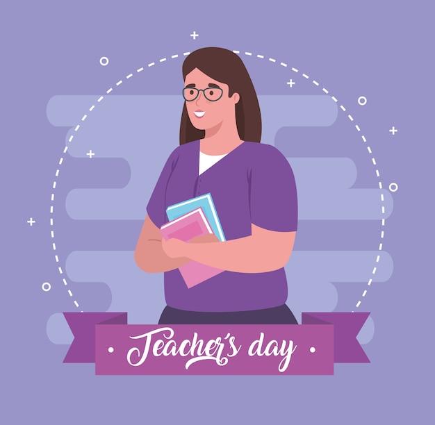 Feliz día del maestro, con maestra y libro.