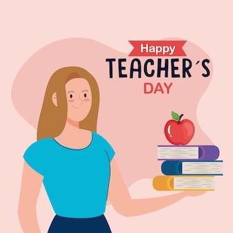 Feliz día del maestro, maestra con libros y manzana