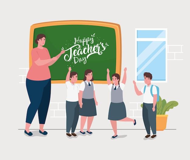 Feliz día del maestro, con maestra y lindos estudiantes en el aula