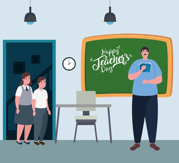 Feliz día del maestro, con maestro hombre y estudiantes lindos en el aula.