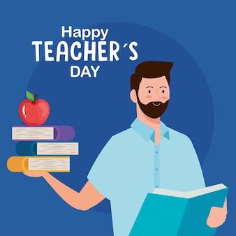 Feliz día del maestro, maestro hombre con libros y manzana.