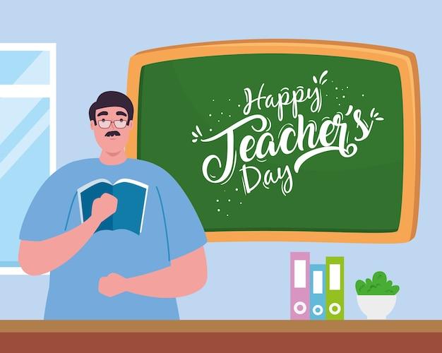 Feliz día del maestro, con maestro hombre, pizarra y libros.