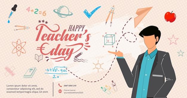 Feliz día del maestro, el mejor maestro de todos los tiempos, publicación en las redes sociales de banner creativo moderno con texto e ícono