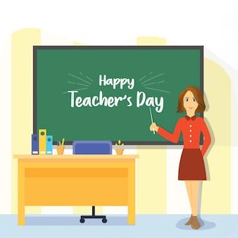 Feliz día del maestro mujer plana