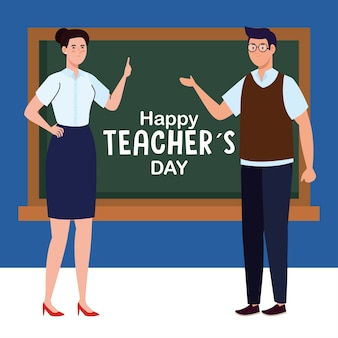 Feliz día del maestro y pareja de maestros y pizarra.