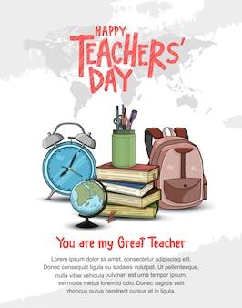 Feliz día del maestro plantilla de póster