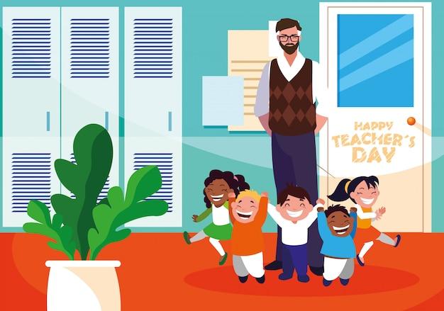 Feliz día del maestro con profesor y alumnos en la escuela