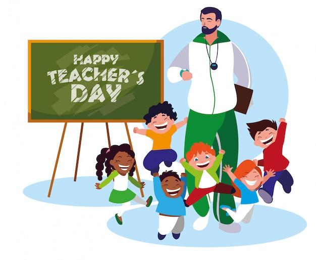 Feliz día del maestro con profesor y alumnos