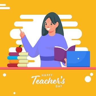 Feliz día del maestro texto con joven educadora sosteniendo libro y portátil sobre fondo blanco y amarillo.