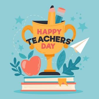 Feliz día del maestro con trofeo y libros.
