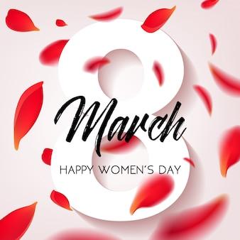 Feliz día de la mujer - 8 de marzo, banner de felicitación con pétalos de rosas rojas sobre fondo blanco. ilustración.