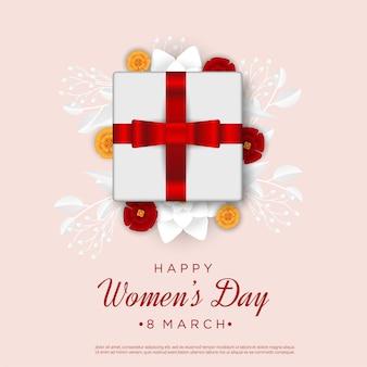 Feliz día de la mujer con caja de regalo tarjeta de felicitación