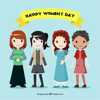Feliz día de la mujer con cuatro chicas sonrientes