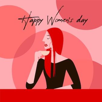 Feliz día de la mujer en diseño plano
