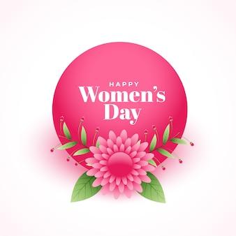 Feliz día de la mujer elegante flor decorativa deseos tarjeta
