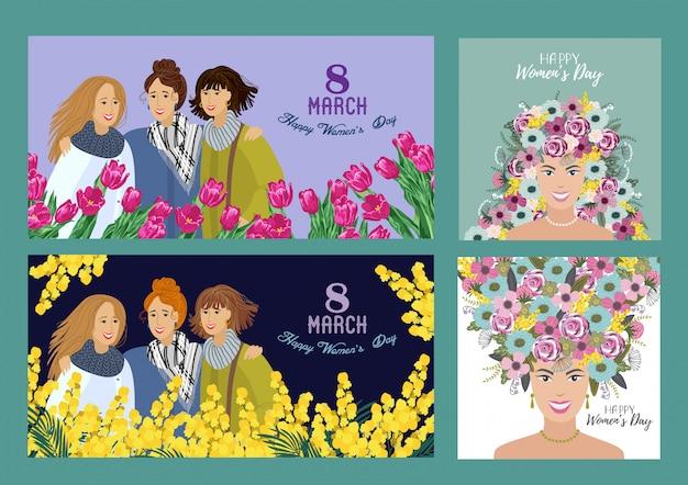 Feliz día de la mujer. establecer plantillas para tarjeta horizontal y cuadrada, póster, folleto