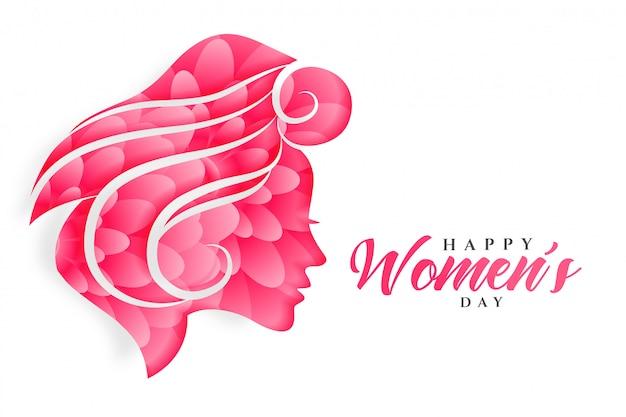 Feliz día de la mujer flor cara bandera