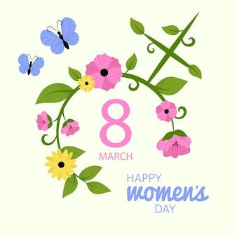Feliz día de la mujer con flores y mariposas