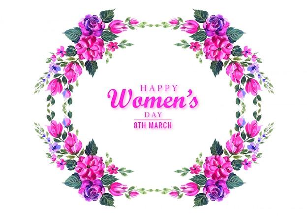 Feliz día de la mujer hermosa flor fondo de tarjeta