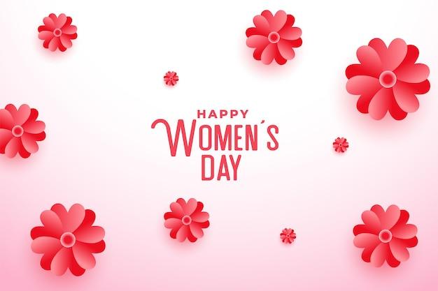 Feliz día de la mujer hermosa flor tarjeta de felicitación