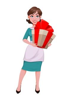 Feliz día de la mujer. hermosa mujer en delantal con caja de regalo grande