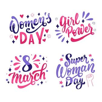 Feliz día de la mujer insignia set de letras