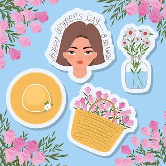 Feliz día de la mujer, letras de marzo, hermosa mujer con cabello castaño, canasta llena de rosas y una ilustración de sombrero