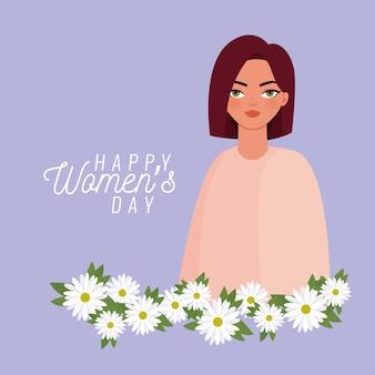 Feliz día de la mujer letras y mujer con ilustración de flores blancas
