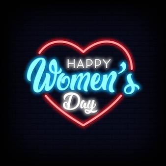 Feliz día de la mujer letras texto efecto neón