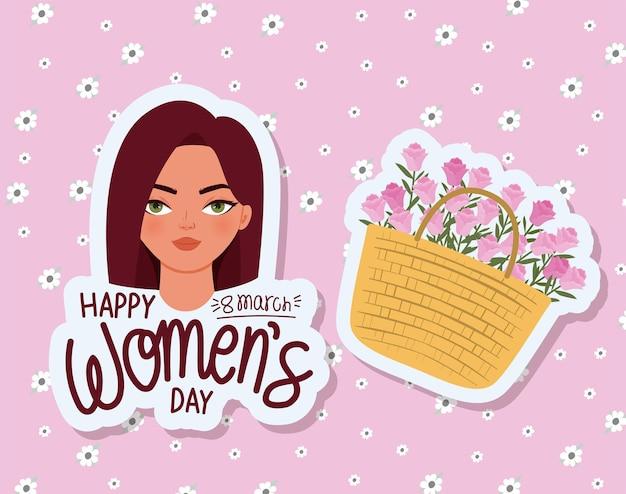 Feliz día de la mujer de marzo letras, linda mujer con cabello rojo y una canasta llena de rosas ilustración