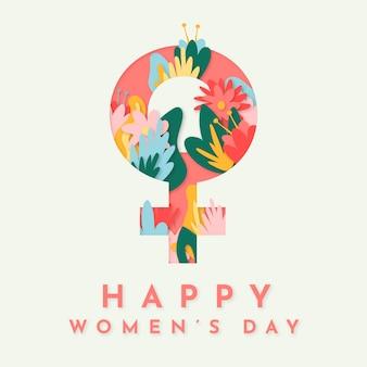 Feliz día de la mujer con signo femenino y flores.