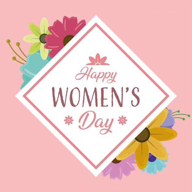 Feliz día de la mujer tarjeta de felicitación con flores sobre fondo rosa