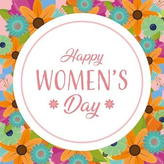 Feliz día de la mujer, tarjeta de felicitación con flores.