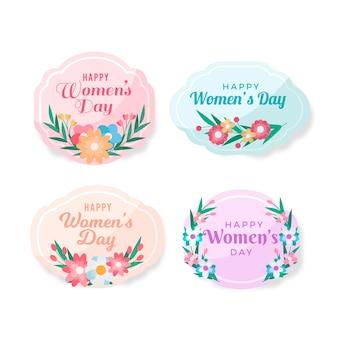 Feliz día de la mujer en todo el mundo colección de etiquetas planas