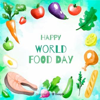 Feliz día mundial de la comida verduras y marco de carne