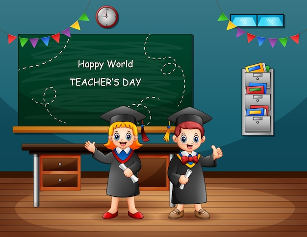 Feliz día mundial de los docentes con niños graduados